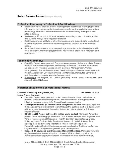 Senior Project Manager Resume Summary by Senior Project Manager Sle Resume Professional Summary