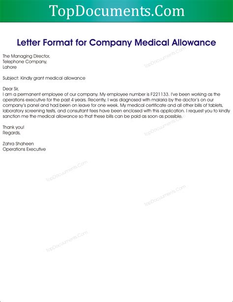 Housing Allowance Request Letter Format request letter for allowance top docx