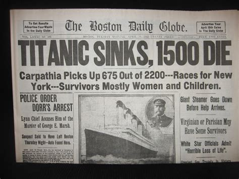 Titanic Sinks Newspaper by All Things Titanic Memories At The