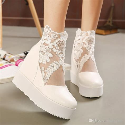 Wedding Shoes And Boots by New White Lace Wedding Boots Silver Bridal Pumps Wedge