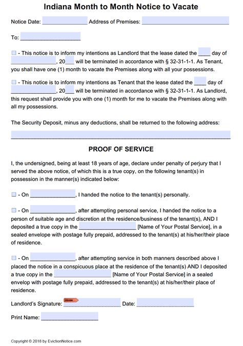 printable eviction notice indiana free indiana 30 day notice to quit month to month