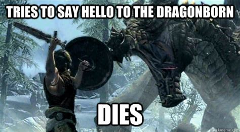 Dragonborn Meme - tries to say hello to the dragonborn dies misunderstood