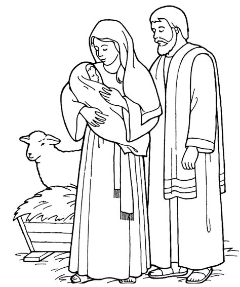 coloring page of baby jesus mary and joseph free christian coloring pages for young and old children