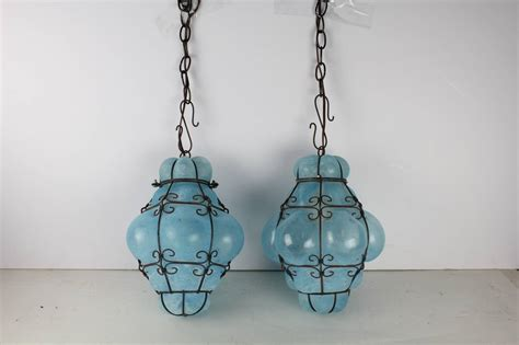 Murano Glass Pendant Lights Vintage Seguso Murano Blue Glass Cage Pendant Lights At 1stdibs