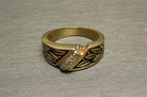s 14k ancient black enamel wedding band