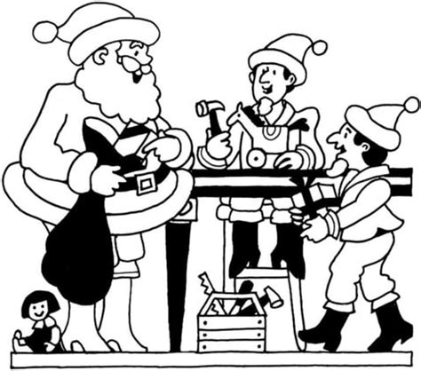 coloring pages of santa s workshop search results for santas workshop with elves coloring