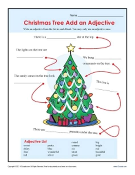 2nd grade grammar christmas add an adjective worksheet for 2nd and 3rd grade