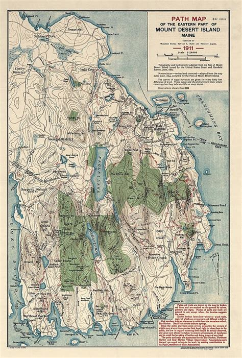 acadia national park map antique map of acadia national park maine 1911 archival reproduction