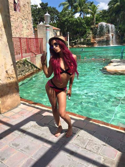 sasha banks thong sasha banks barefoot and in a bikini by the pool sasha