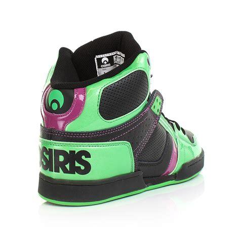 osiris high top shoes for mens osiris nyc83 lime black purple hi top skate casual
