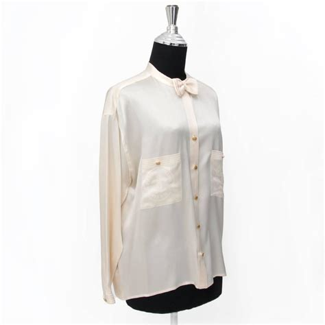 Blouse Chanel Flowers chanel silk bow blouse at 1stdibs
