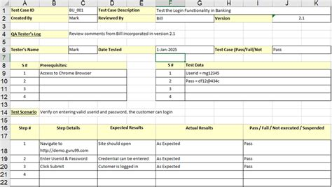 Test Template In Excel by Sle Test Template With Explanation Of
