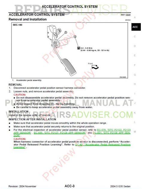 car service manuals pdf 2004 infiniti g35 free book repair manuals nissan infiniti g35 sedan service manual download