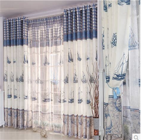 marine curtains marine sailing boat child unique fresh fashion curtain