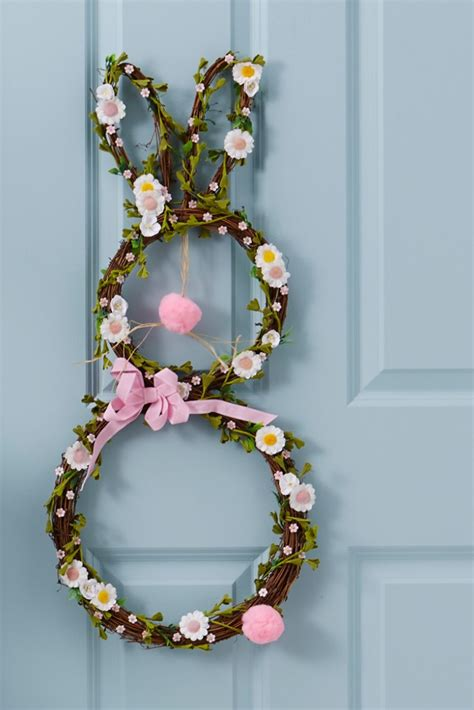 how to make a spring wreath how to decorate a spring bunny wreath hobbycraft blog