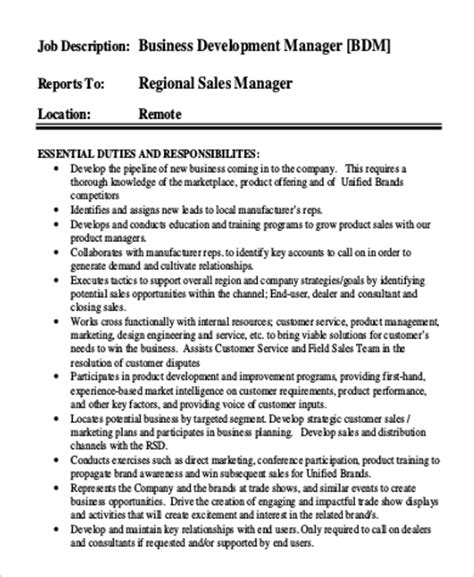 business manager description template sle business development manager description 9