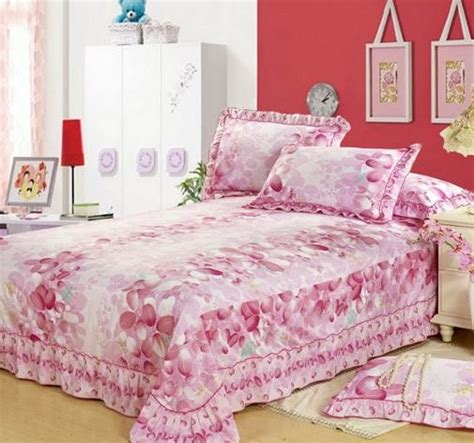 4 pink bedding sets with lace