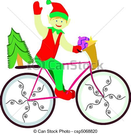 bicycle art christmas tree vector clipart of on bike on pink bike with tree on back csp5068820
