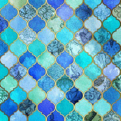 blue moroccan pattern cobalt blue aqua gold decorative moroccan tile pattern