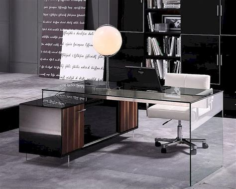 Contemporary Glass Desks For Home Office Contemporary Office Set W Glass Desk 44f2668 Set