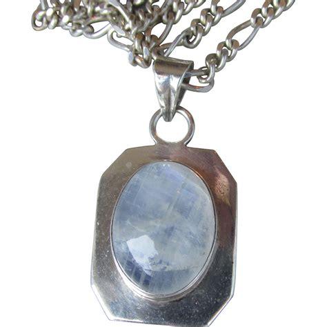 vintage 30 quot moonstone sterling silver pendant