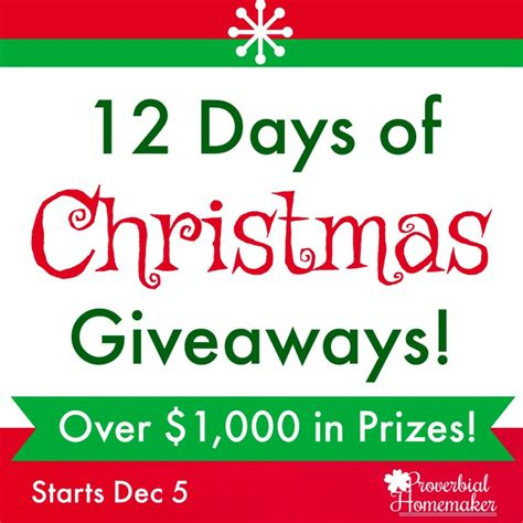 12 Days Of Christmas Giveaways - christmas archives proverbial homemaker
