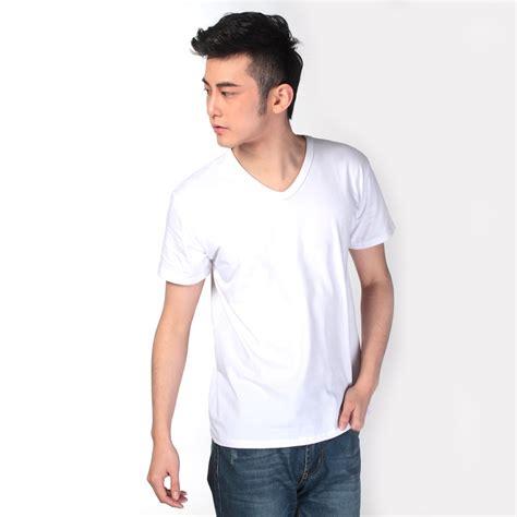 kaos polos katun pria v neck size l 81106 t shirt white jakartanotebook