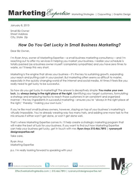 Sle Business Letter For Small Business Selling In Print The Of The Sales Letter Marketing Expertise