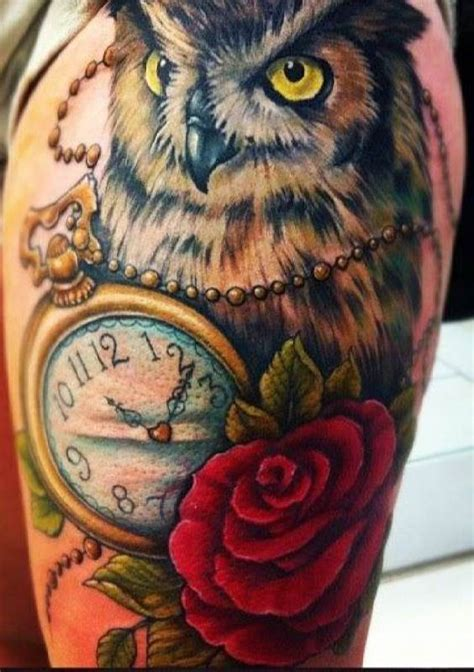 rose and owl tattoo 40 awesome owl clock tattoos