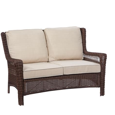 hton bay wicker loveseat hton bay park meadows brown wicker outdoor loveseat