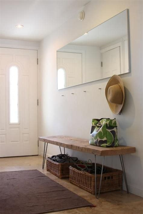diy entrance bench steal this look diy entryway with hairpin leg bench by