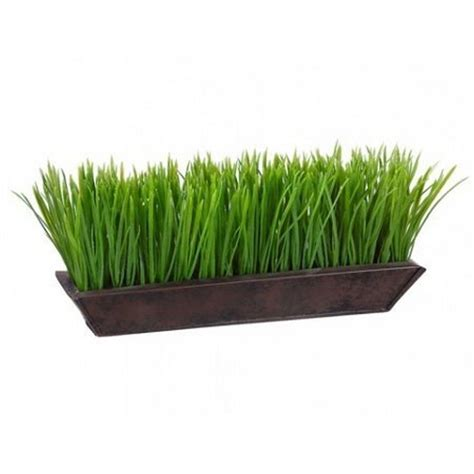 Indoor Grass Planters by Artificial Grass Arrangement 6 Quot Plant 13 Quot In Metal Pot In Outdoor Pool Ebay