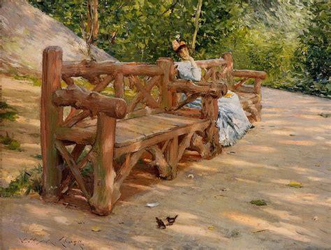 park bench painting park bench william merritt chase