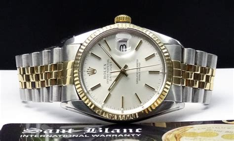 Swiss Watches ROLEX   18kt GOLD SS 36mm Mens DateJust Silver Stick   16013 SANT BLANC