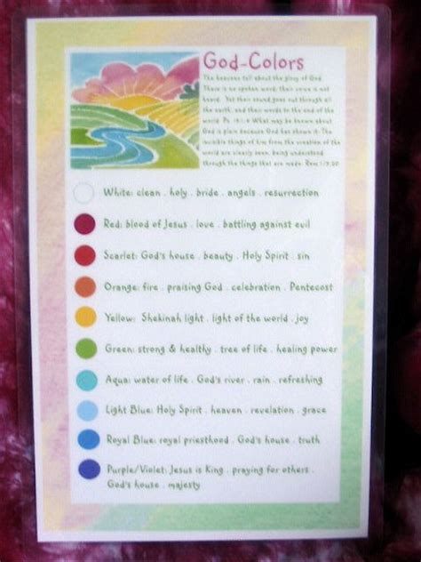 colors in the bible children s color chart colors and their meanings bible