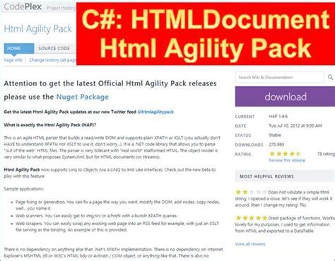tutorial html agility pack net nuget htmlagilitypack html dokumente aus webseiten