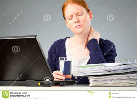 dis comfort accountant with neck pain stock photo image of