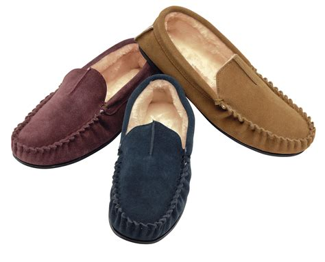 mens leather fur lined slippers new mens dunlop real leather faux fur lined moccasin
