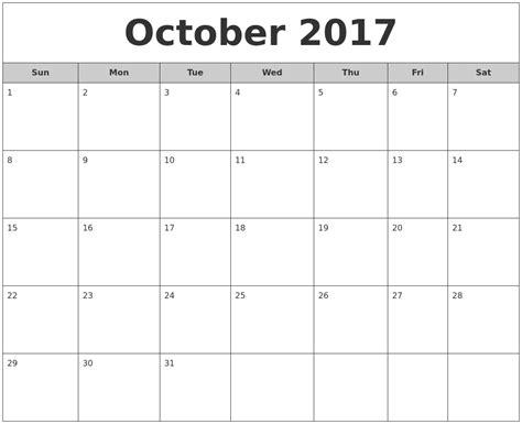 A Calendar For October October Calendars