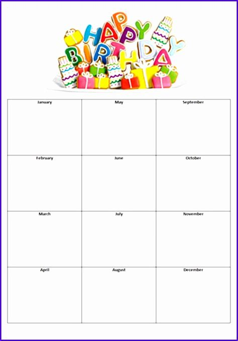 Free Birthday Calendar Template Excel