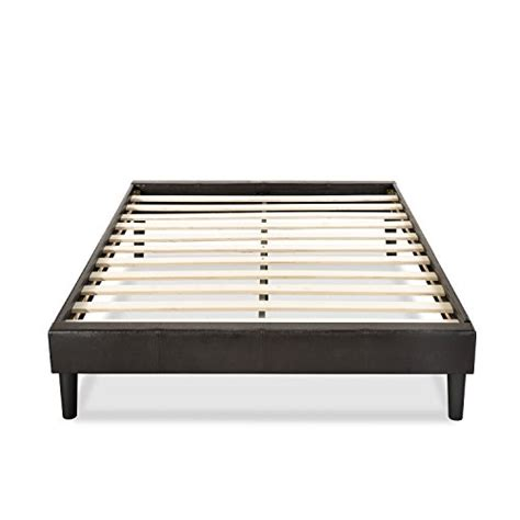 King Bed Foundation Wood Essential Faux Leather Upholstered Platform Bed Frame Mattress Foundation No Boxspring Needed