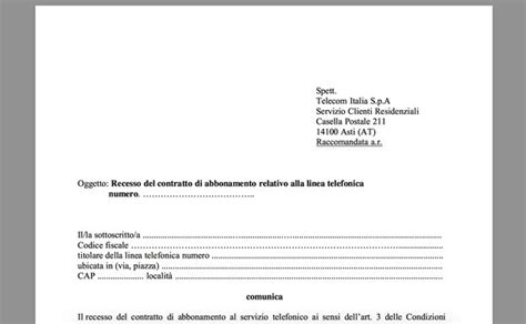 lettere di disdetta contratto come fare disdetta telecom salvatore aranzulla