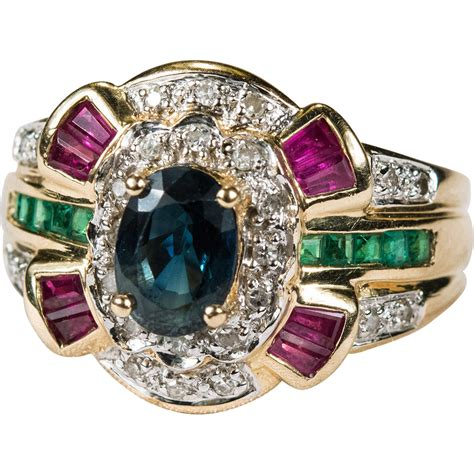 ruby emerald sapphire ring 585 14k gold wide band