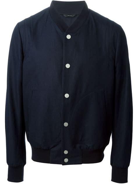 womens blue patterned jacket fendi ff logo pattern bomber jacket in blue lyst