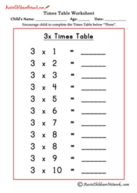 printable multiplication table of 3 multiplication times tables worksheets aussie childcare