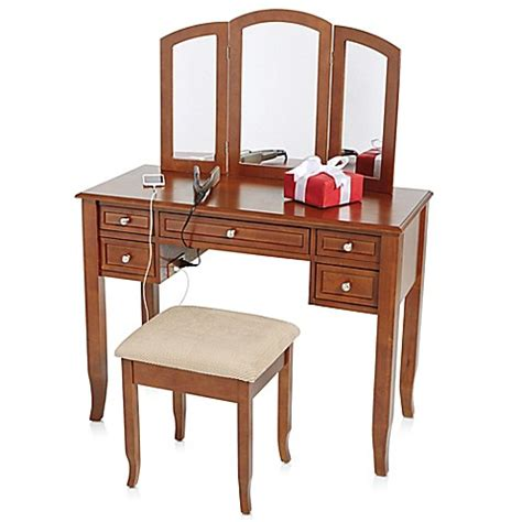 vanity set bed bath and beyond charlotte 2 piece vanity set with power strip and usb bed bath beyond