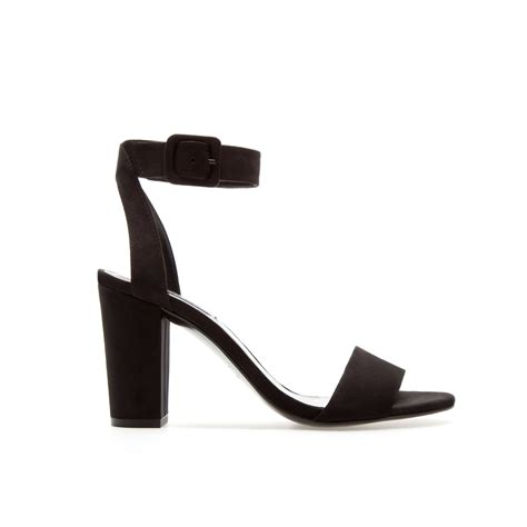 mid heel sandals with ankle zara mid heel sandals with ankle in black lyst