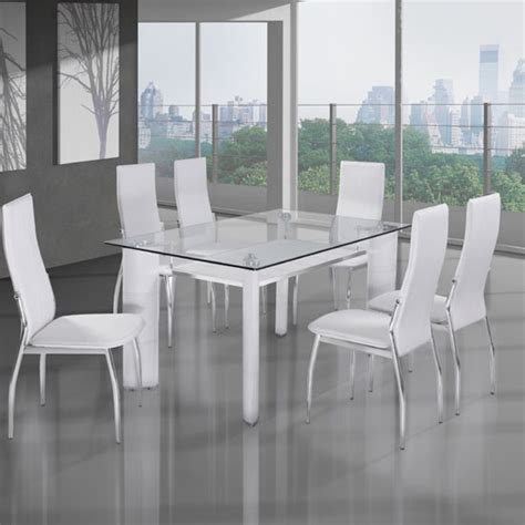 Dining Table Glass Top 6 Chairs charrell clear glass top dining table with 6 white chairs 23