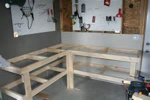 garage bench designs garage corner workbench plans galleryhip com the