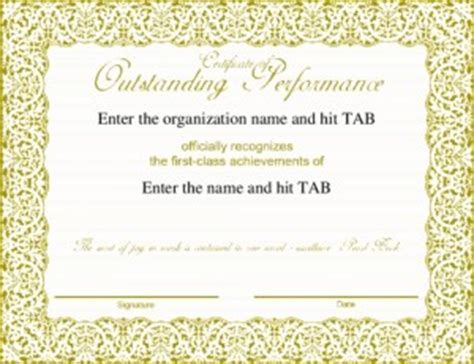 outstanding performance certificate template outstanding performance quotes quotesgram